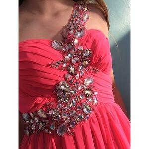 One Shoulder Pink Diamond Homecoming Dress